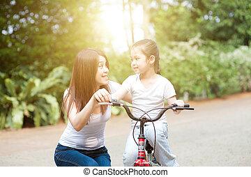 équitation, outdoor., vélo, fille, mère