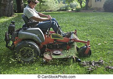 équitation, pelouse, landscaper, faucheur