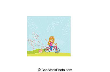 équitation, peu, vélo, girl