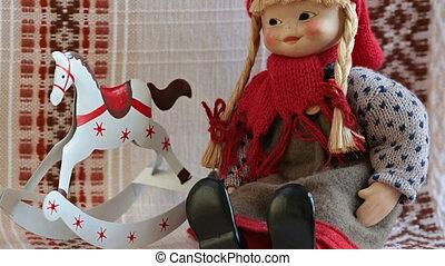 équitation, poupée, rouges, capuchon