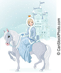 équitation, princesse, hiver, cheval