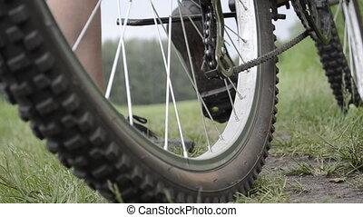 équitation, roues, closeup, bicycle.