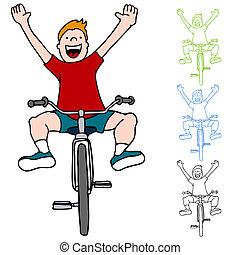 équitation, sans, vélo, mains