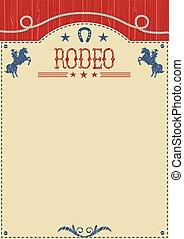 équitation, sauvage, rodéo, text., américain, cheval, cow-boy, affiche