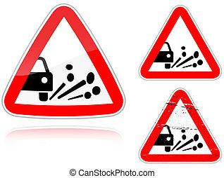éruption, -, signe, variantes, route gravier