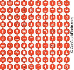 été, achats, icônes, orange, 100, hexagone