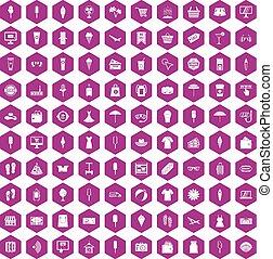 été, achats, icônes, violet, 100, hexagone