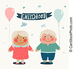 été, amis, enfants, baloons