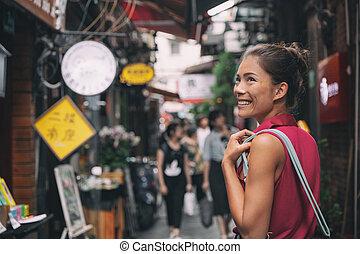 été, asie, touriste, marche, tianzifang, marché asiatique, voyage, ruelle, porcelaine, nourriture, femme, concession, francais, shanghai, tourisme, chinois, achats, rue, vacances