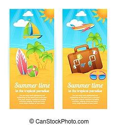 été, bannières, vacances