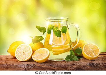 été, boisson, citron