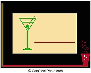 été, boisson, coctail, carte, fête
