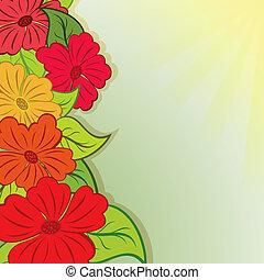 été, bouquet fleur, space., vecteur, fond, copie