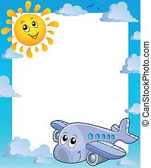 été, cadre, avion, soleil
