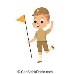 été, caractère, élémentaire, activités, scoutisme, illustration, scout, mignon, enfant, drapeau, uniforme école, vacances, dessin animé, concept, vecteur, style, garçon