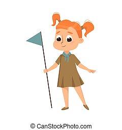 été, caractère, scoutisme, mignon, drapeau, activités, illustration, enfant, girl, uniforme, vacances, dessin animé, concept, vecteur, scout, style