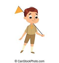 été, caractère, scoutisme, mignon, drapeau, activités, illustration, enfant, scout, uniforme, vacances, dessin animé, concept, vecteur, style, garçon