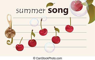 été, chanson, -, fruité, fond, musical