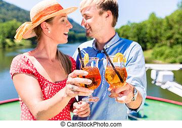 été, coctails, amour, couple, croisière, boire, rivière, heureux