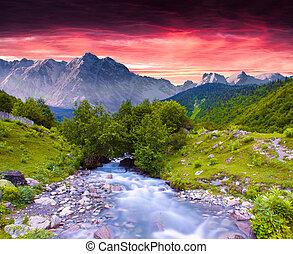 été, coloré, énorme, coucher soleil, rivière, montagnes., paysage