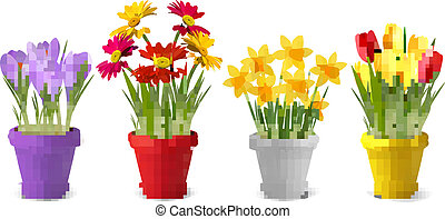 été, coloré, can., printemps, arrosage, pots, collection, vecteur, fleurs