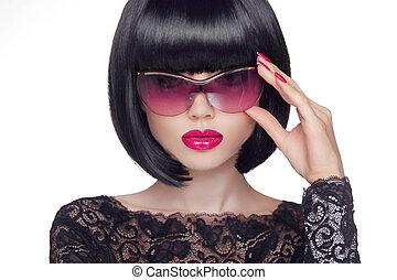 été, concept, beauté, jeune, lunettes soleil, femme, séduisant, portrait, mode