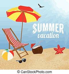été, conception, vacances, affiche