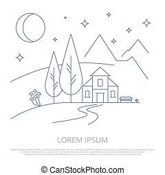été, contour, montagnes, camp, -, vecteur, forêt, fond, ligne, paysage