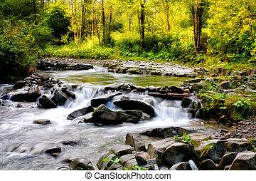 été, couleurs, ruisseau, montagne