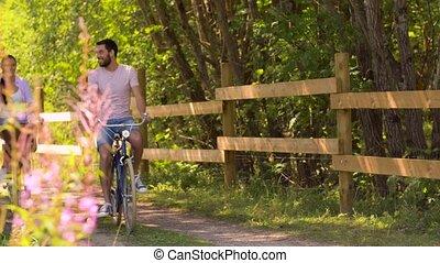 été, couple, parc, bicycles, équitation, heureux