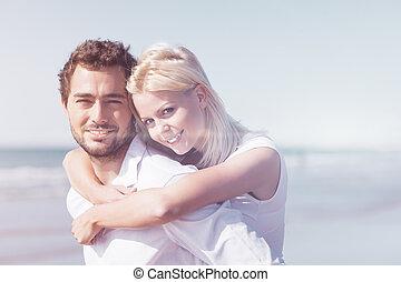 été, couple, plage, amour, vacances