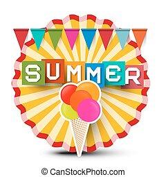 été, cream., coloré, titre, vendange, autocollant, glace, retro, label., orange, drapeaux, cercle