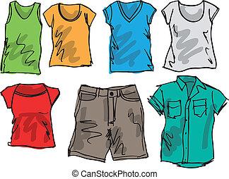 été, croquis, collection., illustration, vecteur, habillement
