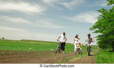 été, cyclisme, famille, dehors