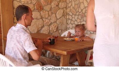 été, dîner, extérieur, famille, cuisine