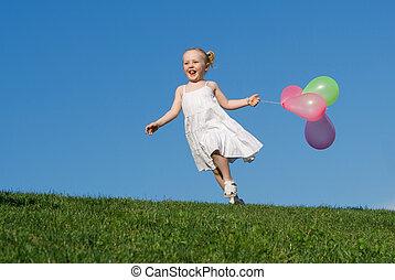 été, dehors, courant, enfant, ballons, heureux
