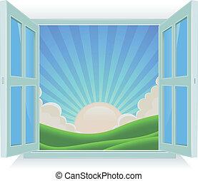 été, dehors, fenêtre, paysage