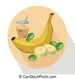 été, drink., vecteur, rafraîchissement, fruit, illustration, secousse, banane, icône