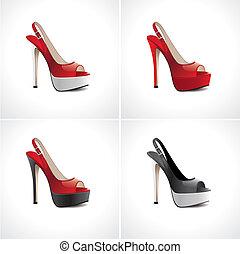 été, ensemble, chaussures, femmes