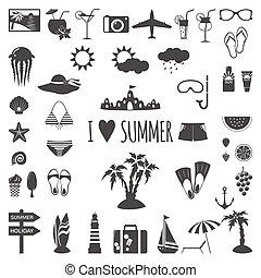 été, ensemble, icons., plat