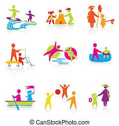 été, ensemble, silhouette, gens, family., homme, icônes, -, garçon, gosse, père, vector., temps, femme, mother., girl, enfant