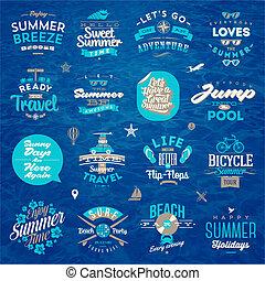 été, ensemble, voyage, -, vacances, illustration, vecteur, conception, type