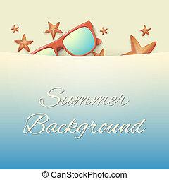 été, etoile mer, sunglasses., fond, plage, sablonneux