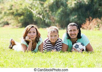 été, famille, parc, heureux