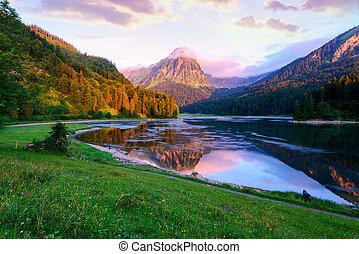 été, fantastique, obersee, lac, matin, surprenant, suisse