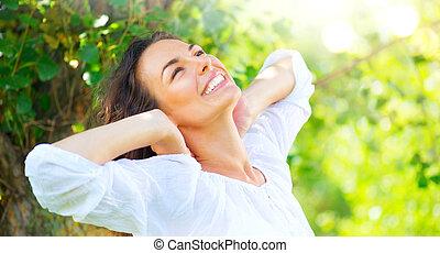 été, femme, beauté, nature, parc, jeune, apprécier