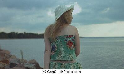 été, femme, bord mer, repos, joli, avoir