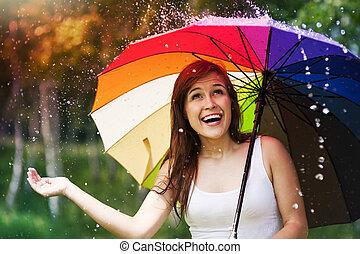 été, femme, parapluie, pluie, pendant, surpris