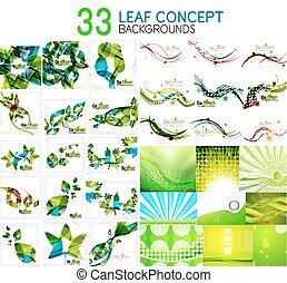 été, feuille, mega, printemps, icônes, idées, collection, vecteur, vert, concepts