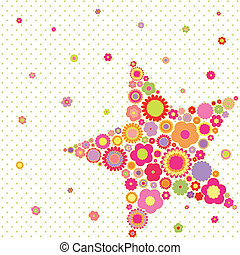 été, fleur, étoile, coloré, printemps, salutation, forme, carte
